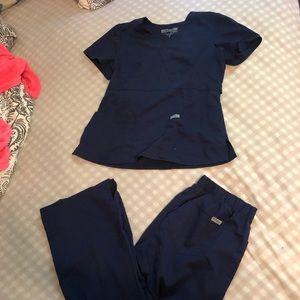 Greys anatomy navy blue scrub pants and top